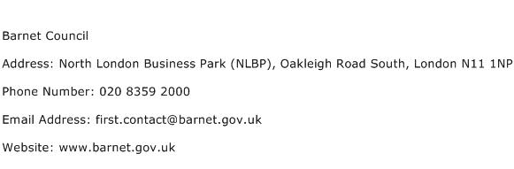 Barnet Council Address Contact Number