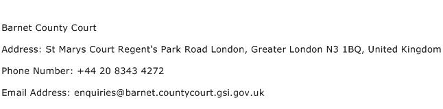Barnet County Court Address Contact Number