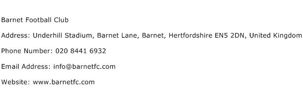 Barnet Football Club Address Contact Number