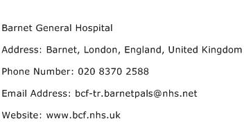 Barnet General Hospital Address Contact Number