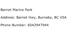 Barnet Marine Park Address Contact Number