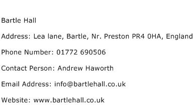 Bartle Hall Address Contact Number
