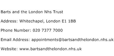 Barts and the London Nhs Trust Address Contact Number