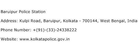 Baruipur Police Station Address Contact Number