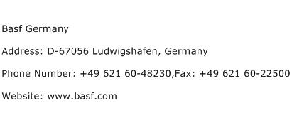 Basf Germany Address Contact Number
