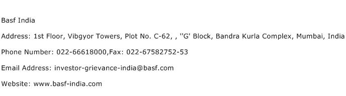 Basf India Address Contact Number