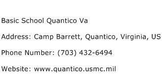 Basic School Quantico Va Address Contact Number