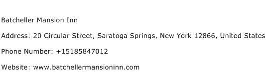 Batcheller Mansion Inn Address Contact Number