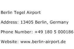 Berlin Tegel Airport Address Contact Number