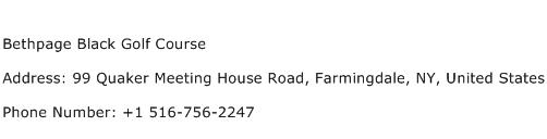 Bethpage Black Golf Course Address Contact Number