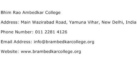 Bhim Rao Ambedkar College Address Contact Number