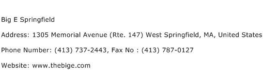 Big E Springfield Address Contact Number