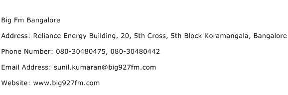 Big Fm Bangalore Address Contact Number