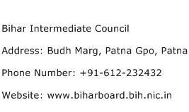 Bihar Intermediate Council Address Contact Number