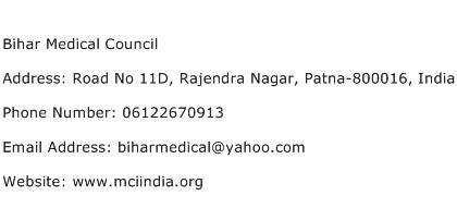 Bihar Medical Council Address Contact Number