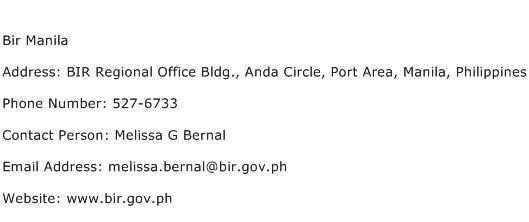 Bir Manila Address Contact Number
