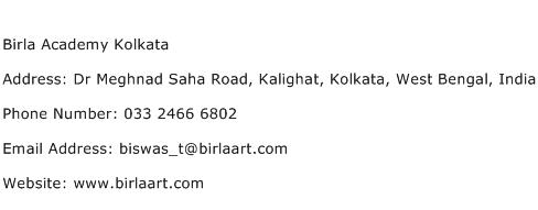 Birla Academy Kolkata Address Contact Number