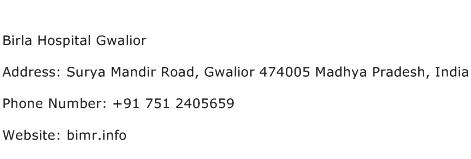 Birla Hospital Gwalior Address Contact Number