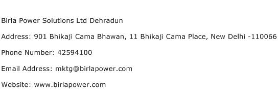 Birla Power Solutions Ltd Dehradun Address Contact Number