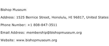 Bishop Museum Address Contact Number