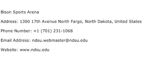 Bison Sports Arena Address Contact Number