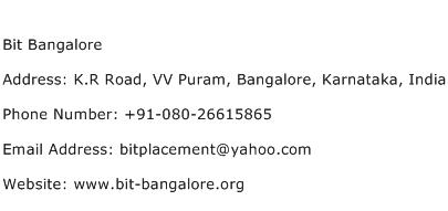 Bit Bangalore Address Contact Number