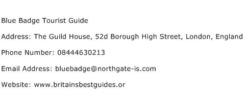 Blue Badge Tourist Guide Address Contact Number