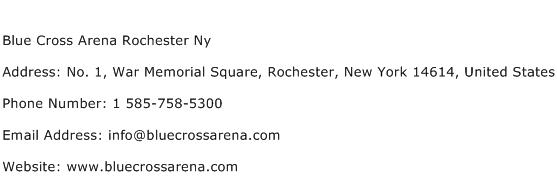 Blue Cross Arena Rochester Ny Address Contact Number