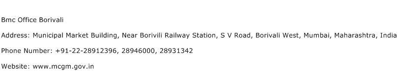 Bmc Office Borivali Address Contact Number