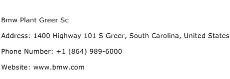 Bmw Plant Greer Sc Address Contact Number