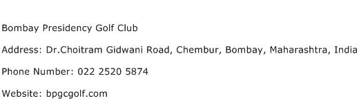 Bombay Presidency Golf Club Address Contact Number