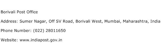 Borivali Post Office Address Contact Number