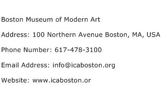Boston Museum of Modern Art Address Contact Number