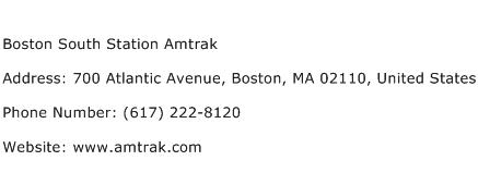 Boston South Station Amtrak Address Contact Number