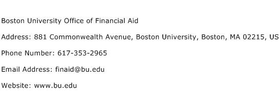 Boston University Office of Financial Aid Address Contact Number