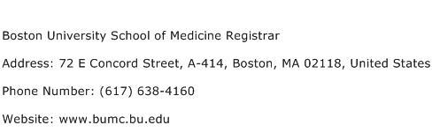 Boston University School of Medicine Registrar Address Contact Number