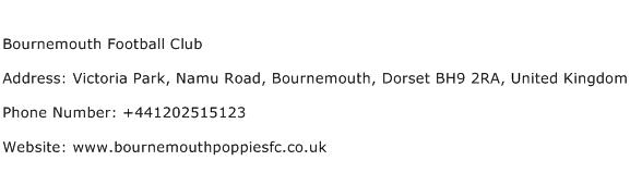 Bournemouth Football Club Address Contact Number