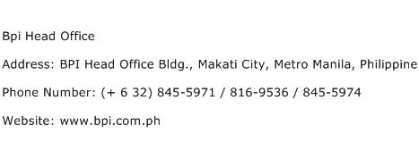 Bpi Head Office Address Contact Number