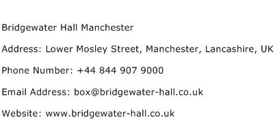 Bridgewater Hall Manchester Address Contact Number