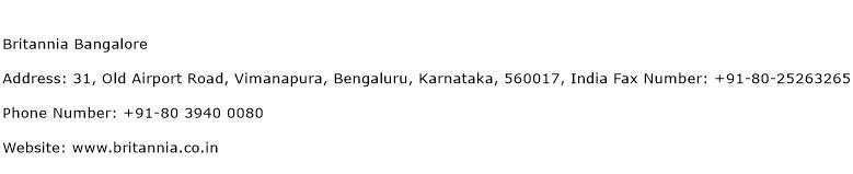 Britannia Bangalore Address Contact Number