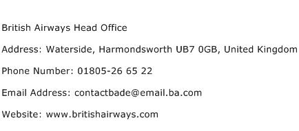 British Airways Head Office Address Contact Number