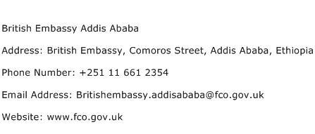 British Embassy Addis Ababa Address Contact Number