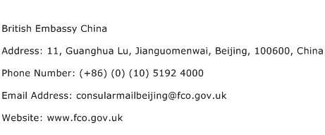 British Embassy China Address Contact Number