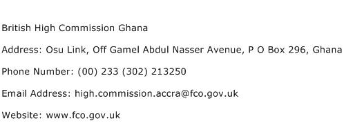 British High Commission Ghana Address Contact Number