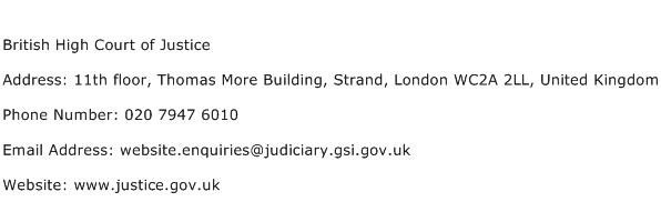 British High Court of Justice Address Contact Number