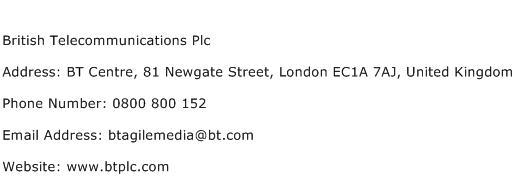 British Telecommunications Plc Address Contact Number