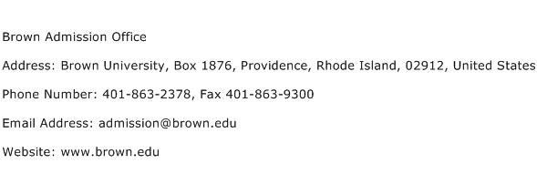 Brown Admission Office Address Contact Number