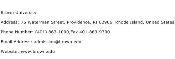 Brown University Address Contact Number