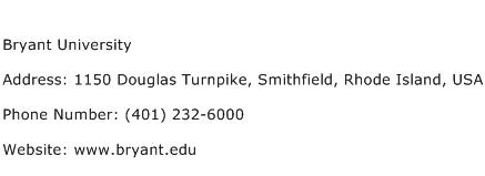 Bryant University Address Contact Number