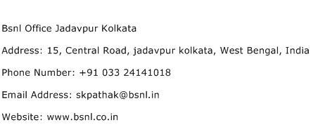 Bsnl Office Jadavpur Kolkata Address Contact Number